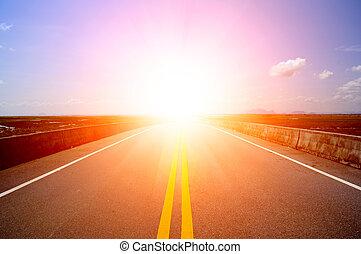 impacto, vacío, camino, sunlight.