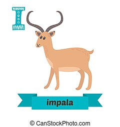 Impala. I letter. Cute children animal alphabet in vector. Funny cartoon animals