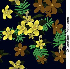 Impala Lily seamless pattern - Illustration of floral...