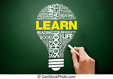 imparare, bulbo, parola, nuvola