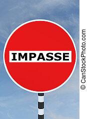 Impasse concept - Render illustration of Impasse title on No...
