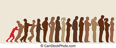 Impatient - Queue of editable vector people silhouettes with...