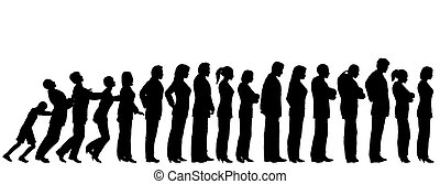 Queue of people silhouettes with boy pushing them like dominoes