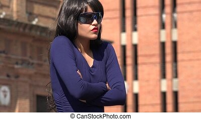 Impatient Unhappy Woman Wearing Sunglasses And Wig