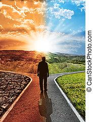 impatto, camminare, concetto, silhouette, clima, verde, globale, chooses, arido, inquinato, ambiente, ambientale, responsabilità, warming, pulito, fra, giunzione, uomo, cambiamento, pavimentato
