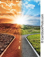 impatto, concetto, giunzione, ambientale, esposizione, globale, scena, arido, inquinato, ambiente, taglio, destra, verde, warming, pulito, mezzo, sinistra, o, cambiamento, pavimentato