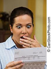 impayé, femme, factures