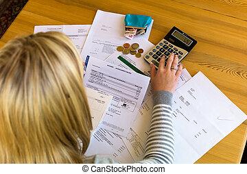 impayé, femme, factures, dette