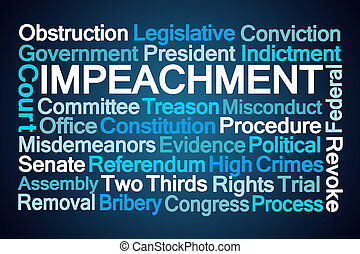 Impeachment Word Cloud on Blue Background