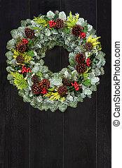 impeccable, hiver, couronne, naturel, sapin, solstice