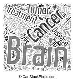 impedir, conceito, câncer, texto, cérebro, wordcloud, tratamento, fundo, alternativa