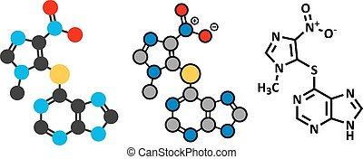 impedire, azathioprine, usato, rifiuto, molecule., droga, ...