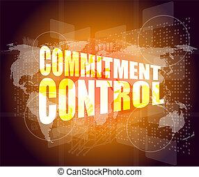 impegno, controllo, su, affari, digitale, schermo tocco