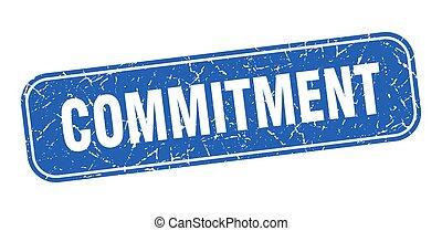 impegno, grungy, segno, stamp., quadrato blu