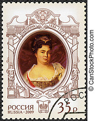 imperatriz, 2009:, circa, selo, -, catherine, aniversário, estado, 2009, história, 325th, nascimento, russo, impresso, alekseevna, (1684-1727), rússia, mostra