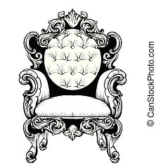 Imperial Baroque armchair with luxurious ornaments. Vector French Luxury rich intricate structure. Victorian Royal Style decors