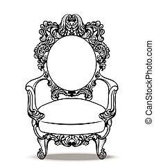 Imperial Baroque chairs collection with luxurious ornaments. Vector French Luxury rich intricate structure. Victorian Royal Style decor