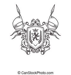 Imperial coat of arms, heraldic embossed royal shield with crossed flags, ancestral medieval symbol, vector