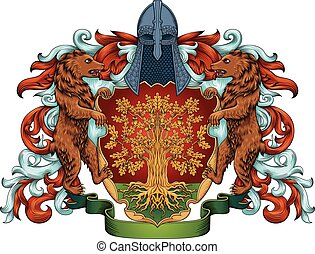 Imperial coat of arms - heraldic royal emblem shield with crown and laurel