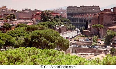 Imperial Forums street leading to the Coliseum, cityscape...