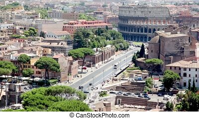 Imperial Forums street leading to the Coliseum, view of city...