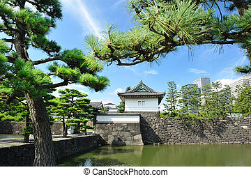 Imperial palace in Tokyo - Imperial palace and city skyline...