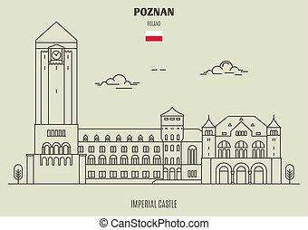 imperial, poznan, señal, castillo, icono, poland.