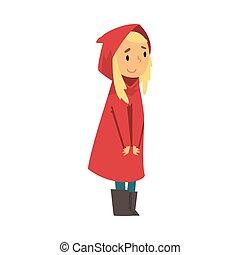 imperméable, blonds, dessin animé, girl, illustration,...