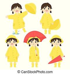 imperméable, jaune, girl, ensemble, mignon, vecteur