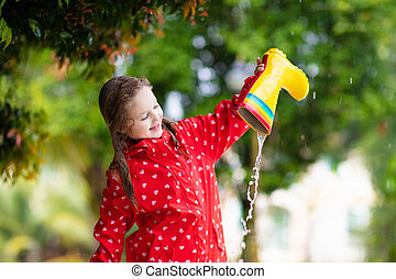 impermeável, boots., chuva, desgaste, children., criança