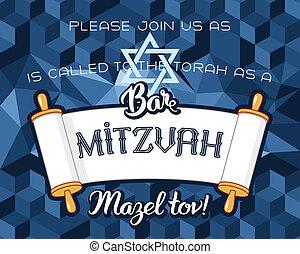 impida mitzvah, tarjeta, invitación