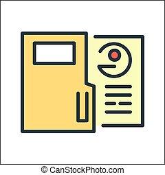 impiegato, colorare, dati, icona
