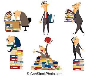 impiegato, documenti, lavorativo