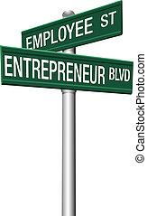 impiegato, imprenditore, scelta, segnali stradali