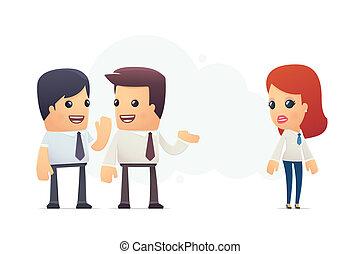 impiegato, nuovo, managers, discutere