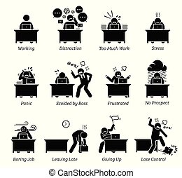 impiegato, stressante, workplace., molto, lavorativo