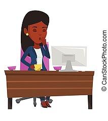 impiegato, ufficio., lavorativo, stanco