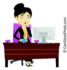 impiegato, ufficio., sbadigliare, stanco