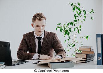 impiegato, uomo, ufficio, computer lavora, affari