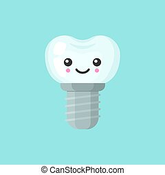 Implant tooth with emotional face, cute colorful vector icon illustration