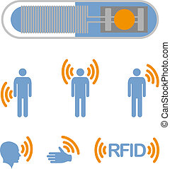 RFID - Implantable RFID tag Icon Sign Symbol Pictogram