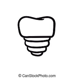 implante, bosquejo, icon., diente