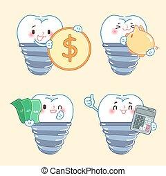 implante, conceito, dente