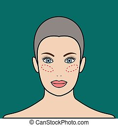 Implants in cheeks, lipofilling. Beautiful female face....