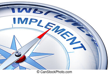 implement - 3d rendering of a compass with a implement icon