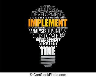 Implement light bulb word cloud collage, business concept ...