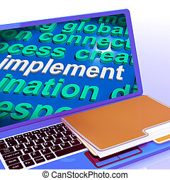 Implement Word Cloud Laptop Shows Implementing Or Execute A Plan