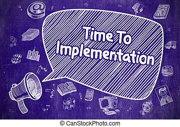 implementação, concept., -, negócio, tempo