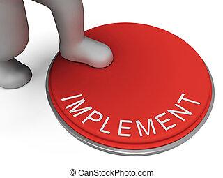 implementação, representa, interruptor, instrumento,...