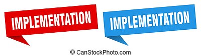 implementation banner sign. implementation speech bubble ...